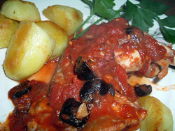 Chicken provencal, with tomato sauce and olives [France]
