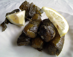 Dolmades: Grapevine leaves, stuffed with aromatic rice [Greece]
