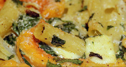 Pasta bake, with spinach, squash and ricotta cheese [Italy]